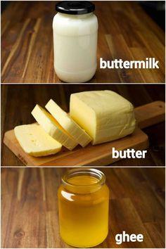 butter recipe | ghee recipe | buttermilk recipe | whipped cream from cream How To Make Butter Recipe, Snack Recipes, Cooking Recipes, Vegan Recipes, Buttermilk Recipes, Indian Dessert Recipes, Instant Recipes, Homemade Butter, Sauces