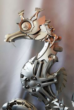 The Awesome Spareparts Sculpture Of Edouard Martinet Robot - Salvaged scrap metal transformed to create graceful kinetic steampunk sculptures