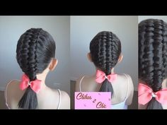 Trenza Doble-Trenza Pasacinta Doble/Double - Double Passes Through Ribbo. Ribbon Braids, Diy Braids, Long Hair Tips, Braids For Long Hair, Plaits Hairstyles, Cute Hairstyles, Diy Tresses, Wacky Hair, Toddler Hair
