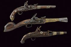 A lot of two snaphaunce pistols and a snaphaunce blunderbuss originating from North Africa, 19th century.