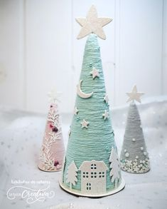 Christmas Holiday Paper Mache Cone Trees with twine or yarn, gold jeweled garlan. - Christmas Holiday Paper Mache Cone Trees with twine or yarn, gold jeweled garland, table or mantle - Cone Christmas Trees, Pink Christmas, Simple Christmas, Christmas Holidays, Christmas Gifts, Christmas Ornaments, Cone Trees, Yarn Trees, Christmas Ribbon
