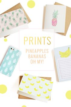 Baby pineapple and banana prints, oh my! Loving these summery patterns on iPhone cases, cards, and notepads! Sistergolden.com