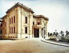 Il prospetto sud del Palazzo Zanca a Messina in una immagine dell'agosto 1937 in occasione della visita di Benito Mussolini