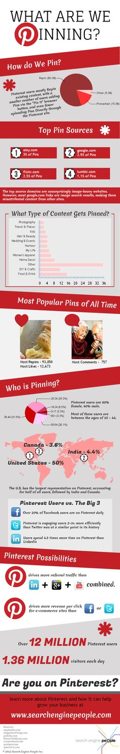What Are We Pinning? Great infographic with details about the topics people pin and the sources they use.