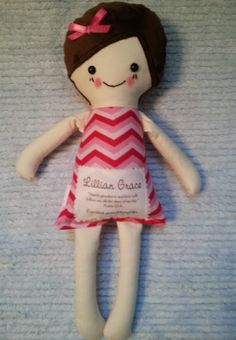 Great idea to add to your own hand made toys!  Baby Be Blessed dolls. Handmade and comes with a scripture of your choice sewn onto the doll. Girl, boy and animal dolls.  Bitty Blessing in Pink