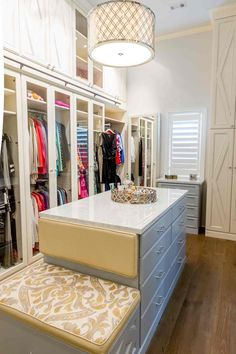 Amazing closet features a quatrefoil drum pendant illuminating a gray closet island fitted with a built-in bench lined with yellow and gray damask cushions. Custom Walk In Closets, Walk In Closet Design, Closet Designs, Master Closet, Closet Bedroom, Closet Redo, Closet Office, Bedroom Decor, Closet Island
