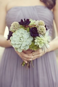 Succulents and scabiosa pods: http://www.stylemepretty.com/2015/04/21/20-green-bouquets-for-earth-day/