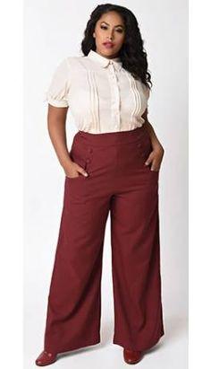 26d45d35530 Unique Vintage Plus Size 1940s Burgundy Red High Waist Sailor Ginger Pants