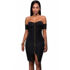 White Off Shoulder Front Zip and Slit Dress Black (White Off Shoulder Front Zip and Slit Dress Black) by http://www.irockbags.com/white-off-shoulder-front-zip-and-slit-dress-black