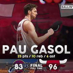 PAU GASOL - 25 pts / 10 reb / 6 ast Bulls Basketball, Basketball Players, Pts 10, Singular, Washington Wizards, Charlotte Hornets, Chicago Bulls, Mj, Air Jordan