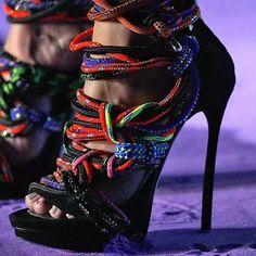 Shoespie Unique Colorful Ropes Wrapped Sandals