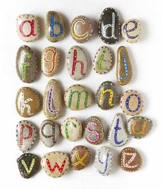 Alphabet Pebbles for Kids, via Etsy. me: Magnetic rock letters for engaging students in library with alphabet. Rock Crafts, Arts And Crafts, Modern Crafts, Stone Crafts, Kids Crafts, Summer Crafts, Art Rupestre, Art Pierre, Beach Kids