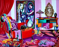 Paloma's Boudoir Interior Painting Inspired Paloma Picasso by k Madison Moore, painting by artist k. Madison Moore