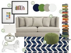 I'd like to start with gray for my new living room. I have plenty of olive green accents, so how about adding navy???  And would dark brown flow as well? As in a couch or chair?