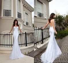 Wholesale Buy 2014 Vintage Sheer Backless Sexy Beach Wedding Dresses Mermaid Spaghetti White Elegant Lace Appliques Ruched Ribbon Sweep-Train, Free shipping, $148.64/Piece | DHgate Mobile