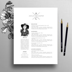 Professional Resume Template / CV Template Cover Letter for Modern Resume Template, Creative Resume Templates, Cv Template, Resume Pdf, Cv Design, Resume Design, Graphic Design, Cover Letter For Resume, Cover Letter Template