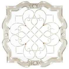 Antique Cream Wood & Metal Wall Decor. Coated in an antique cream finish, features a wood frame with floral accents and a metal interior with scroll and grid details.