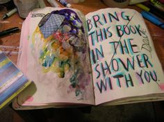 Wreck This Journal - the shower page. Re-created the effect by flinging water at it w/ a paintbrush. This one's my most abstract, to-date. ~Leslie D. Soule