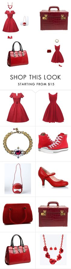 """ViNTaGe ReD"" by grandfinery ❤ liked on Polyvore featuring FUCHSIA by Izumi Tahara, Converse, Gucci, Relaxfeel and vintage"