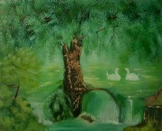 """swans by the big tree"" 20x16inch. PAINTING, OIL Published via ArtLoupe…"