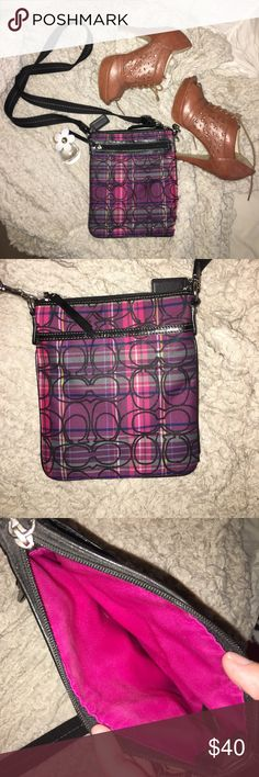 purple and pink coach cross body purse plaid purple and pink coach purse with a front zipper pocket and a back pocket and one compartment!! gently used!! Coach Bags Crossbody Bags