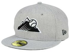 40a7a65ee67 Colorado Rockies New Era MLB Heather Black White 59FIFTY Cap