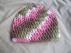 Baby Girl Pink Camo Crochet Hat by AngieHallHaviland on Etsy, $9.00