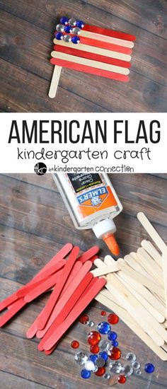 This American flag craft is simple, fun, and perfect for kids to try this of July or for any patriotic holiday. Grab some popsicle sticks and have fun! Popsicle Stick Crafts, Craft Stick Crafts, Popsicle Sticks, Craft Ideas, Paper Crafts, Kindergarten Crafts, Preschool Crafts, Kids Crafts, Preschool Ideas
