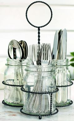 NEW Kitchen Mason Jar Flatware Caddy Cutlery Storage Holder .- NEW Kitchen Mason Jar Flatware Caddy Cutlery Storage Holder Silverware Organizer Silverware Storage, Kitchen Utensil Storage, Cutlery Caddy, Cutlery Holder, Kitchen Utensils, Diy Kitchen, Kitchen Small, Kitchen Dining, Craft Ideas
