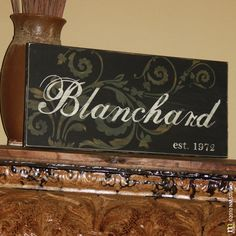 """Want to make one similar.  Personalized Family Name Established Wood Sign - 12""""x24""""- custom hand painted and distressed. $75.00, via Etsy."""