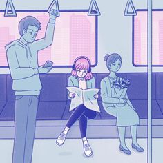 Free Art - Girl reading newspaper on train while commuting to work - Mixkit
