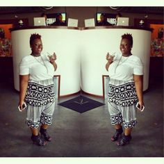quayla_venezuela's photo on Instagram. Birthday. Harem pants.  Thrifted top. Black and white. Natural hair. Hair color. Thrifted heels.