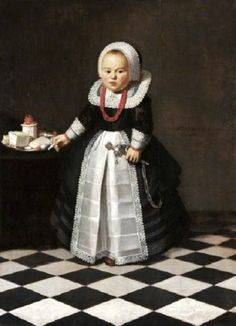 1635 Unknown artist of the Dutch (Friesland) School Portrait of a Girl, Aged One, with a Rattle and a Coral Necklace in an interior