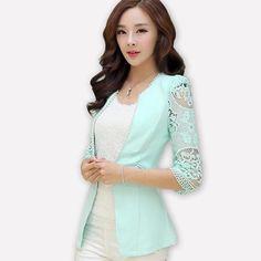 Jofemuho Women Cotton Linen Solid 3//4 Sleeve Business Work OL Blazer Jacket Coat