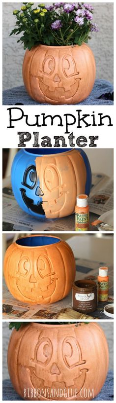 DIY Pumpkin Planter made from a plastic trick or treat bucket painted with a…