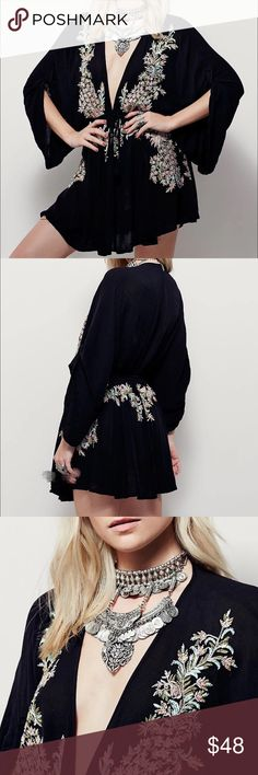"""SOLD Free people"""" styled embodied romper. One size. Not free people. Listed for exposure only. Material: Linen blended. Bust: 47.5"""". Waist: 25.2"""", length: 30.7"""" Free People Other"""