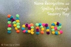 Teaching name recognition to preschoolers in a hands on, sensory stimulating way.  Great opportunity for open ended play, too!  Many other ideas included in this post.
