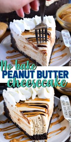 This EASY No Bake Peanut Butter Cheesecake is full of peanut butter flavor with a chocolate cookie crust! It's a simple recipe with easy ingredients. It's an absolutely delicious cheesecake recipe! recipes for two recipes fry recipes Best Cheesecake, Peanut Butter Cheesecake, Easy Cheesecake Recipes, Simple No Bake Cheesecake, Peanutbutter Cheesecake Recipes, Peanut Recipes, Pavlova, No Bake Desserts, Dessert Recipes