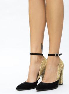 Pantofi aurii cu toc gros cu sclipici Mary Janes, Cape, Shoes, Fashion, Mantle, Moda, Cabo, Zapatos, Shoes Outlet