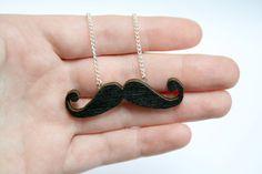 Moustache Black Wooden Necklace. £8.00, via Etsy.