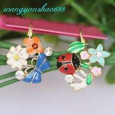 Nwt Betsey Johnson Multicolor Flowers Butterfly Ladybug Asym Ear Stud Earrings