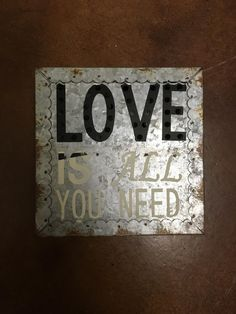 love, metal, sign, lights, wall art, décor, home, twisted j  Tin love is all you need light up sign. 6X6X2in.