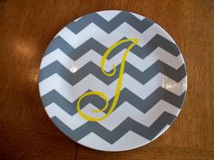 DIY Monogrammed Chevron Plate