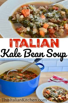 Tuscan Bean Soup featuring Italian sausage, kale, and cannellini beans. This delicious Italian soup is easy to make and full of flavor. #tuscanbeansoup #sausagekalebeansoup