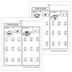 Fichier PDF téléchargeable En noir et blanc seulement 1 page par fichier Versions avec retenue et sans retenue