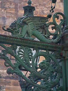 Green Lion and Green Dragon, Ornate Street Lamp, Prague by Thorskegga, via Flickr