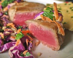 Seared Yellow Fin Tuna with Asian Slaw  and Spinach Almond Flatbread - Light and flavorful!