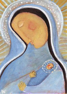 ORIGINAL  PAINTING by rose walton Madonna and Child by RoseWalton