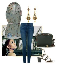 """Saturday"" by easy-dressing ❤ liked on Polyvore featuring Valentino, Gucci, NYDJ, teal, jeans, ROCKSTUD and polyvoreeditorial"