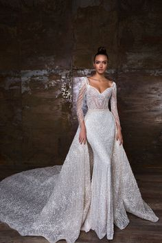 40 Dream Wedding Gowns For Every Bride In Glamorous Wedding Gowns. La Sposa Wedding Dresses, Wedding Dress Prices, Wedding Gowns With Sleeves, Long Sleeve Wedding, Wedding Attire, Bridal Dresses, Bridesmaid Gowns, Wedding Bride, Glamorous Wedding